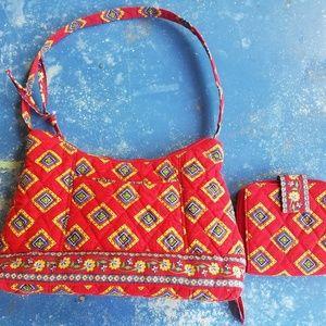 Vera Bradley Villa Red handbag & matching wallet